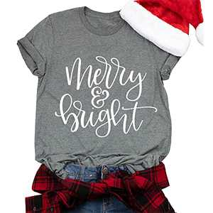 T&Twenties Merry Christmas T-Shirt for Women Merry and Bright Letter Printed Tee Shirt Christmas Plaid Tree Holiday Tops