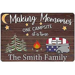 Camper Sign Making Memories One Campsite at a Time RV Decor Personalized Camping Signs for Campers Custom Name Welcome Signs Wall Decor Plaque