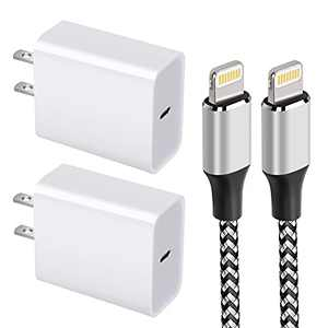iPhone Fast Charger, MFi Certified Cable 6FT Nylon Braided Rope iPhone Charging Cord + Fast iPhone Charger Block Adapter Compatible with iPhone 13/12/11/11 Pro Max/XS/XR/X/8/7/6 Plus, iPad (2-Pack)