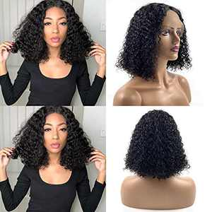 13X4X1 T-Part Transparent Lace Front Bob Curly Wigs Human Hair for Black Women, Short 100% Unprocessed Brazilian Human Hair Wigs Natural Color 150% Density Pre Plucked with Baby Hair(12 inch)