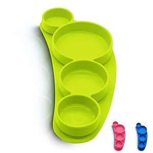 SiliLife Silicone Grip Dish, Suction Plate, Divided Plate, Baby Toddler Plate, Microwave Dishwasher Safe (Bright Lime)