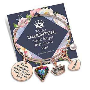 Yoosteel Daughter Gift from Mom Bracelet, Engraved to My Daughter Never Forget That I Love You Inspirational Bracelets for Daughter Gift from Mom (Daughter Crown Bracelet)