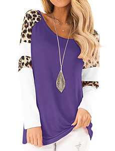 Topstype Womens Leopard Print Tops Color Block Long Sleeve Crew Neck Sweatshirts Casual Blouses Cheetah Print Shirts (Purple, Large)