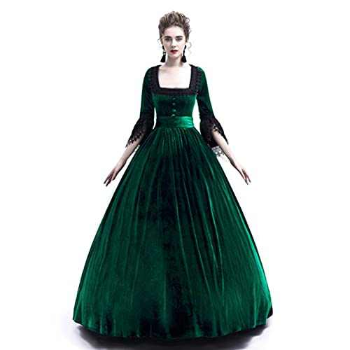 Womens Renaissance Vintage Dress Ball Gown Gothic Medieval Costume Maxi Dresses Plus Size Halloween Cosplay Fancy Dress