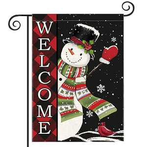 Christmas Garden Flag Double Sided, Snowman Welcome Winter Yard Outdoor Decorations, Seasonal Decor for Home Outside Front Porch House Farmhouse, Buffalo Check Plaid Burlap Small Flag 12.5 x 18 Inch