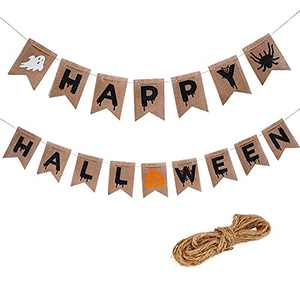 Halloween Banner, Happy Halloween Ghost Witch Pumpkin Spider Printed Burlap Bunting Banners for Indoor Outdoor Party Decoration