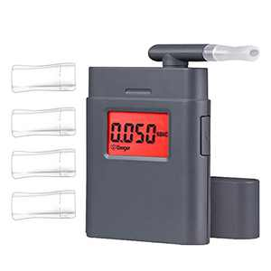 Breathalyzers, Portable Personal Alcohol Tester with 5 Mouthpieces, Real-Time Red Backlight Digital LCD Screen with Audible Alert, Clock, Grey
