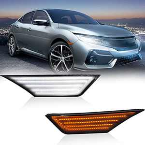 AutoJoy Club Switchback LED Side Marker Lights Smoked Lens Sequential Turn Signal Lamps Replacement Compatible With 2016-2021 10th Gen Honda Civic, White & Dynamic Amber Front Fender Bumper Reflector