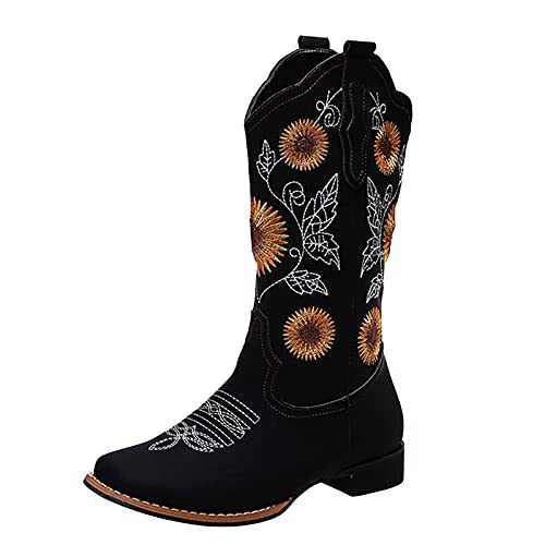 Boots for Women Fashion Round Toe Buckle Rider Boots Zipper Knee High Boots Casual Outdoor Cowboy Boots