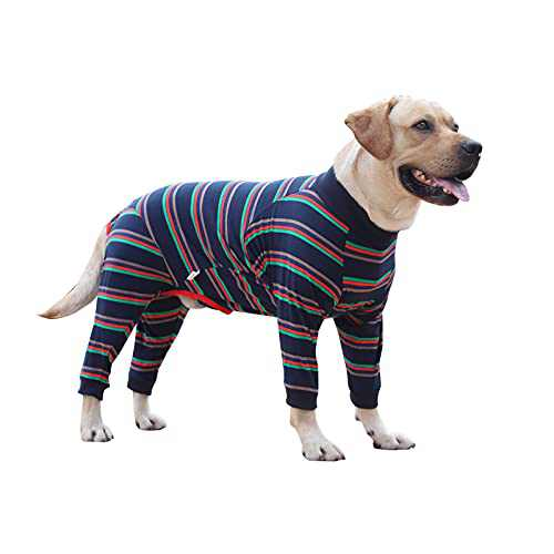 """Dog Onesie Surgery Recovery Suit for Large Medium Bodysuit Dogs Pajamas PJS Full Body for Shedding, Prevent Licking, Wound Protection, Cone Alternative (S(Back Length 18.1""""), Blue Strip)"""