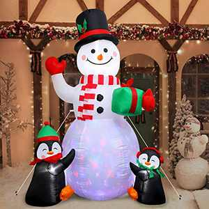 6 Ft Christmas Party Decorations Outdoor White Snowman with Penguin, Christmas Inflatables Decor with Built-in LEDs, Xmas Outdoor Blow Up Decoration Ideal for Frontyard, Backyard, Porch, Party