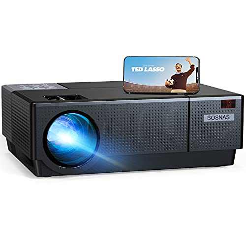"""Projector, BOSNAS 8500 Lux Home Video Projectors, 1920×1080P, Support 300"""" Screen Playing with Hi-Fi Speakers and 4-D Keystone Correction, Compatible with TV Stick/Phone/Laptop/DVD Player/PS4"""