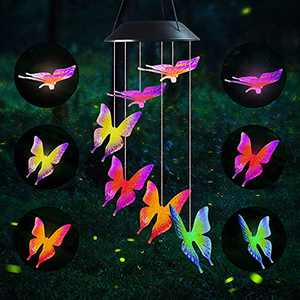 ZHUPIG Solar Wind Chimes Outdoor, Solar Powered Butterfly Wind Chimes with Color Changing LED Lights, Energy Saving and Waterproof Hanging Shiny Lights for Yard, Patio, Porch, Garden, Home Decor