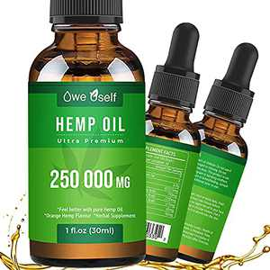 Hemp Oil, Pure Extract, Vegan Friendly, Helps with Skin & Hair, Relaxation, Better Sleep (250 000 mg )