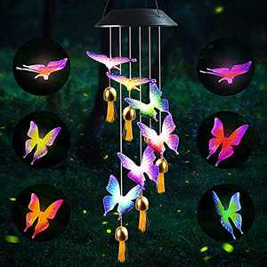 ZHUPIG Solar Wind Chimes Outdoor, Color Changing Solar Powered Butterfly Wind Chimes with Bell, Energy Saving and Waterproof Hanging Shiny Lights for Yard, Patio, Porch, Garden, Home Decor