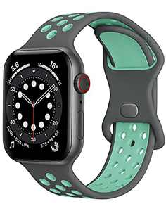 Watch Band Compatible with Apple Watch Band 38mm 40mm 41mm 42mm 44mm 45mm Women Men iWatch Band Soft Silicone Sport Strap Wristband Compatible with Apple Watch Series 7 6 5 4 3 2 1 SE(Grey+Teal Green)