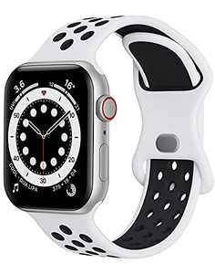 Watch Band Compatible with Apple Watch Band 38mm 40mm 41mm 42mm 44mm 45mm Women Men iWatch Band Soft Silicone Sport Strap Wristband Compatible with Apple Watch Series 7 6 5 4 3 2 1 SE(White+Black)