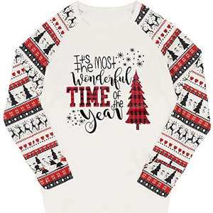 T&Twenties Women's Merry Christmas Shirt Fashion Christmas Raglan Shirt for Women Xmas Tree Xmas Truck Plaid Tee Tops