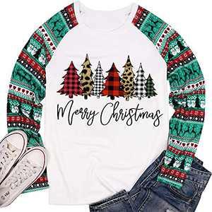 T&Twenties Women Merry Christmas Raglan Long Sleeve Shirts Merry Christmas Plaid Tree T-Shirt Christmas Truck Tees Tops