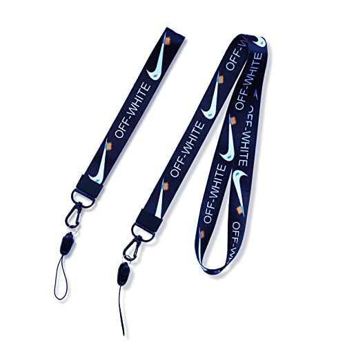 Lanyard Keychain, Neck Lanyard and Wrist Lanyard for Keys 2 Pack, Black Badge Lanyard and Car Key Lanyard for Men and Women, Both Small Short Wristlet Lanyard and Cool Necklace Lanyard