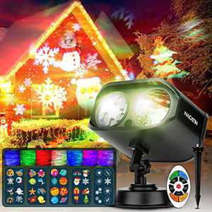 Halloween Christmas Projector Lights, NACATIN 2-in-1 HD Effects (40 Patterns + 7 Aurora Waves) Waterproof Projector Lamp with Remote Control Timer for Indoor Outdoor Xmas Birthday Party