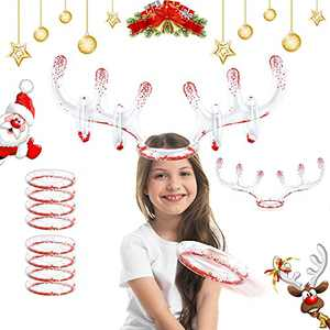 2 Set Christmas Inflatable Reindeer Antler Game Ring Toss Game Christmas Party Games for Kids Adults Family Christmas Party Accessories (2 Antlers 8 Rings 1 Pump)