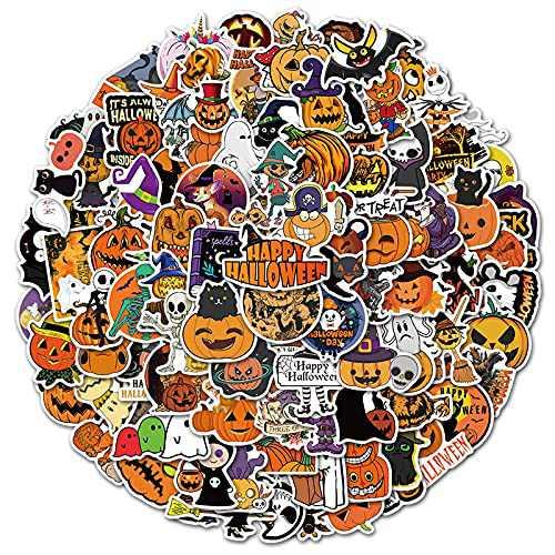 Halloween Stickers for Kids, 100pcs Halloween Pumpkin Vinyl Stickers Waterproof Adult Teen Party Gifts, Halloween Decals Decorations for Waterbottle Laptop Phone
