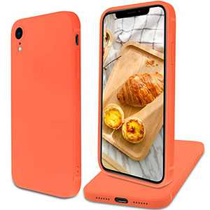 Designed for iPhone XR Case Slim Matte Silicone Shockproof Full Body Protective Phone Case Cover 6.1 inch (Orange)
