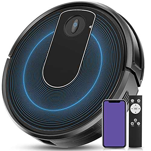 Robot Vacuum, Umoot Wi-Fi Connected 1800Pa Powerful Robotic Vacuum Cleaner, Works with Alexa & Google Assistant, 120mins Runtime, Super-Thin, Self-Charging, Ideal for Pet Hair, Carpets, Hard Floors