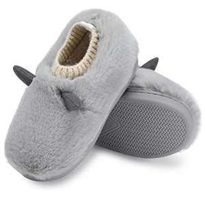 SINNO Children's Cute Slipper Girls Non-slip Slippers Thick Plush Inner Lining Keeps Warm Soft and Light Winter Home Boys Slip Grey 9-10 Size