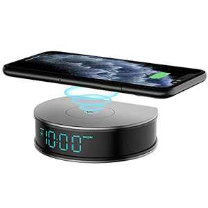 Alarm Clock with Wireless Charging Pad, LIZVIE 15W Fast Wireless Charger for iOS/Android Smartphone with USB Port, 3 Alarm Settings, Adjustable Brightness LED Digital Clock