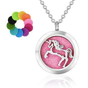 """Cloudarrow Unicorn Pendant Necklace, Stainless Steel Aromatherapy Essential Oil Diffuser Locket Necklace set with 0.98"""" Pendant, 19.7""""chain and 10 Color Felt Pads for girls women"""