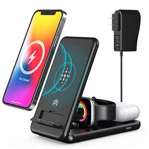 Foldable Wireless Charger, 3 in 1 Wireless Charging Station,Qi Fast Wireless Charging Stand for iPhone 13/12/11 Series/XS MAX/XS/XR/X/8/8 Plus,Samsung Cell Phone,Apple Watch SE/6/5/4/3/2,AirPods Pro/2