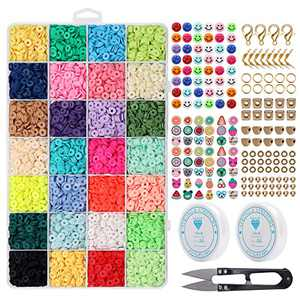 6552 PCS Complete Beads Jewelry Making Kit, 28 Colors Flat Polymer Clay Heishi Beads, Smiley Face Cartoon Fruit Beads, Roll Elastic Strings Other Kinds Space Beads Scissors for Beginner Experiencer