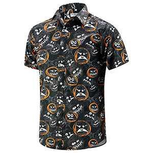 ENVMENST Halloween Button Up Shirt for Men Fun Pumpkins Printed Casual Short Sleeve Hawaiian Aloha Shirts(HS,S)