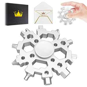 Snowflake Multitool with Fidget Spinner,Gifts for Men Dad Boyfriend Husband,Christmas Stocking Stuffers,Cool Gadgets Gifts for Him,22-in-1 Multi tool for Cycling, Repair, Outdoor,Emergency