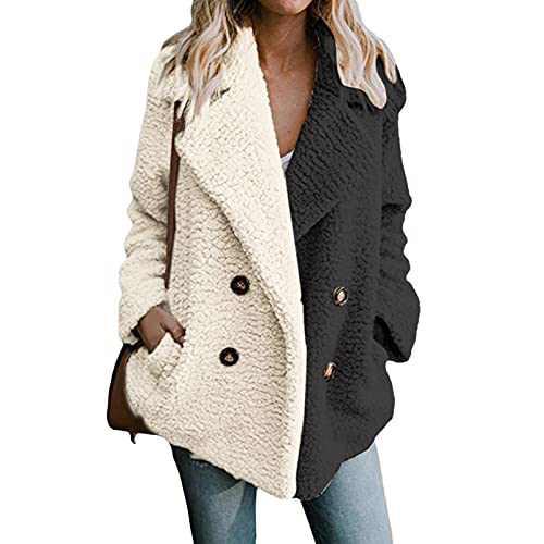 Color Block Sweater Coats for Women Button Fuzzy Fleece Lapel Open Front Mid Cardigan Faux Fur Warm Winter Outwear Jackets