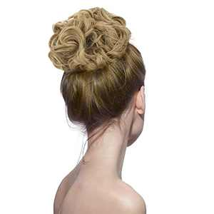 Messy Bun Hair Pieces, GEK 3.17oz Thicker Wavy Curly Updo Scrunchies Hairpieces Synthetic Donut Updo Hair Pieces for Women Girls Ash Brown