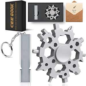 Gifts for Men Husband Boyfriend Dad, 24-in-1 Snowflake Multitool with Fidget Spinner Bottle Opener, Cool Gadgets for Thanksgiving Christmas Stocking Stuffers , Gift Ideas for Birthday Anniversary