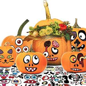 Pumpkin Decorating Kit, Halloween Stickers 46 Different Designs Cute Face Expressions for Kids, Party Decorations Favors