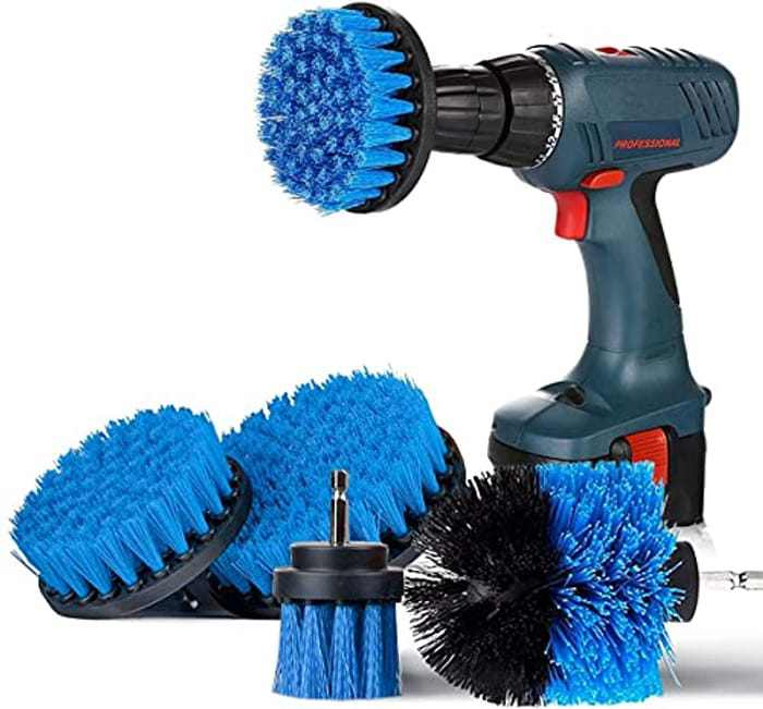 Drill Brushes Power Scrubber 4 Pieces Attachment Electric Cleaning Brushes for Cleaning Pool Tile, Flooring, Brick, Ceramic, Marble, Grout, Bathroom, Car (Blue)