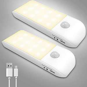 Motion Sensor Night Light, LED Warm White USB Rechargeable Closet Light, Motion Activated Easy Install Removable Build-in Battery Powerd Lights, Under Counter Lights for Kitchen Bedroom Stairs 2 Pack