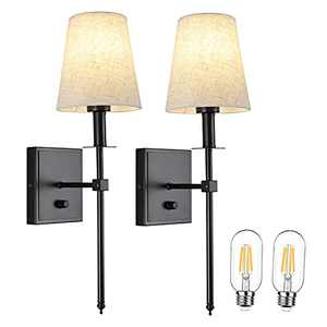 Led Wall Sconces Set of Two for Living Room, Black Wall Lighting with On Off Dimmer Switch, Bathroom Vanity Light Fabric Shade, Bulb Include