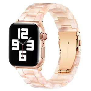 BESTIG Compatible with Resin Apple Watch Band 40mm 38mm 41mm Stainless Steel Buckle Waterproof for iWatch Series 6/5/4/3/2/1/SE/7 Replacement Strap for Women Men (Pink Flower 38mm/40mm/41mm)