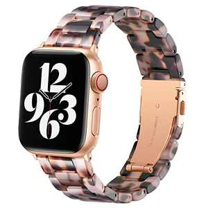 BESTIG Compatible with Resin Apple Watch Band 40mm 38mm 41mm Stainless Steel Buckle Waterproof for iWatch Series 6/5/4/3/2/1/SE/7 Replacement Strap for Women Men (Black Agate 38mm/40mm41mm)