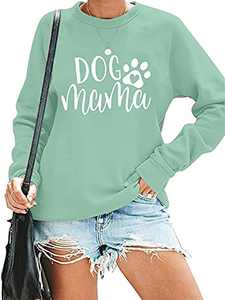 Dog Mom Sweatshirt for Women Cute Dog Paw Graphic Long Sleeve Pullover Blouse(S-2XL)