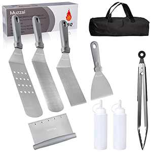 Muzzai Griddle Accessories,for Blackstone Griddle and Flat Top Grill,9 PCS Blackstone Griddle Accessories Kit,with Carry Bag,Stainless steel Griddle Spatula,Outdoor Griddle Accessories Kit (Gray)