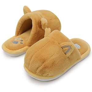 MAXTOP Children's Cute Slippers with Thick Girls Slip Plush Lining to Keep Warm Soft Non-slip Lightweight Winter Boys Household Slippers Yellow Size 9-10