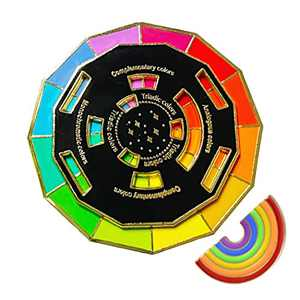 Color Wheel Pin Enamel Color Spinning Wheel Christmas Gift Color Wheel Brooch Color Mixed Guide Rainbow Color Pins