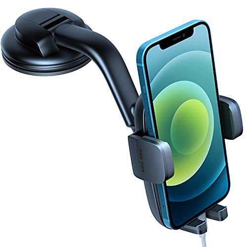 Phone Mount for Car, [Free to Install & Super Stable] Car Phone Holder Mount Fit for All Cell Phone with Thick Case Car Mount for iPhone Samsung Cell Phone Automobile Cradles Dashboard Windshield